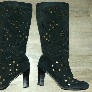 Women's 7.5 Volatile Unique Black Suede Stud Boots